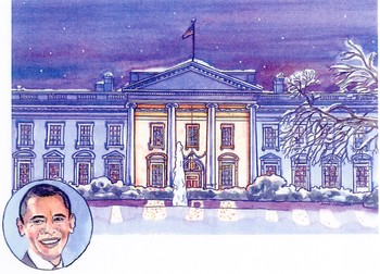 Obama at the White House in Winter